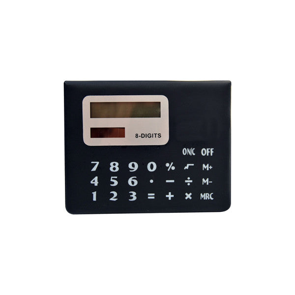 Black 8 digit calculator with solar panel and sticky notes holder, Office - Presence