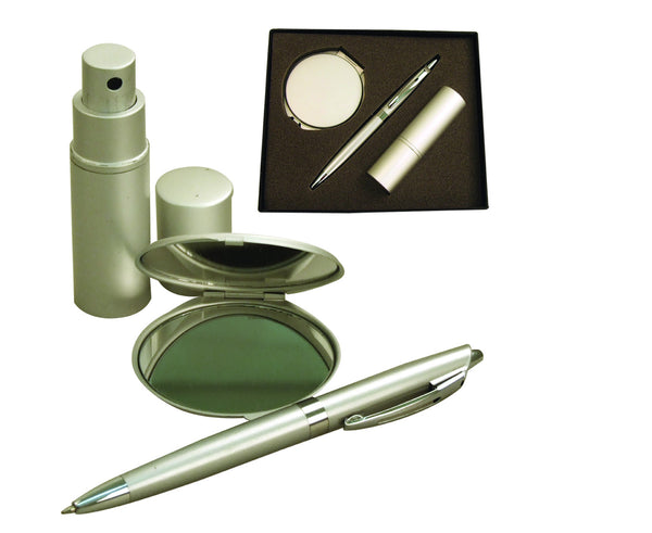 Aluminium pen, round double sided compact mirror and atomiser in gift box, Ladies General - Presence