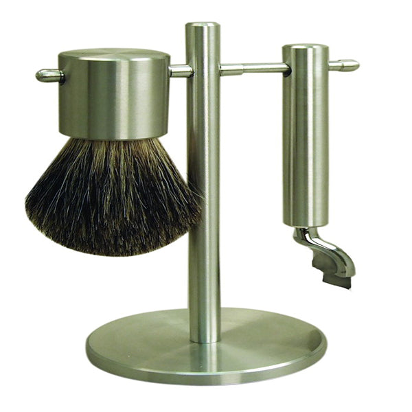 Matt stainless steel shaving set with mach 3 head and badger brush on stand