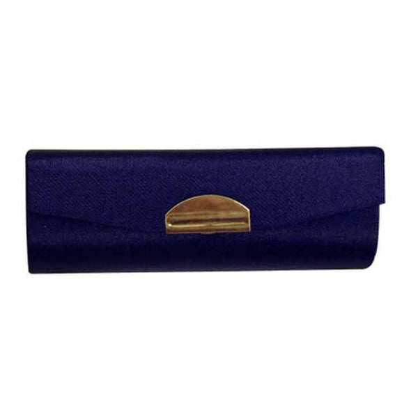 Dark blue satin lipstick case with mirror