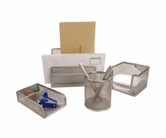 Silver mesh 4 piece stationery set with logo plate