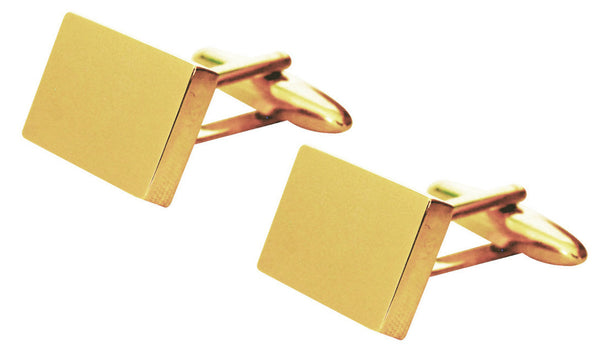 Gold shiny 'rectangular' cufflinks in gift box