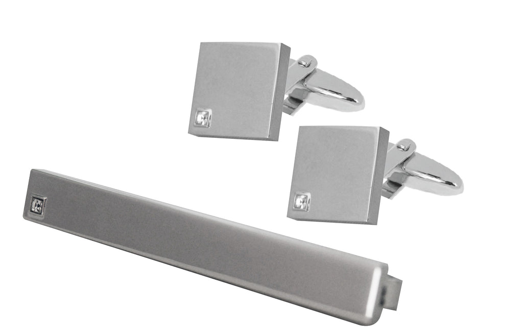 Rhodium plated tie clip and 'square' cufflinks set with crystal detail in gift box