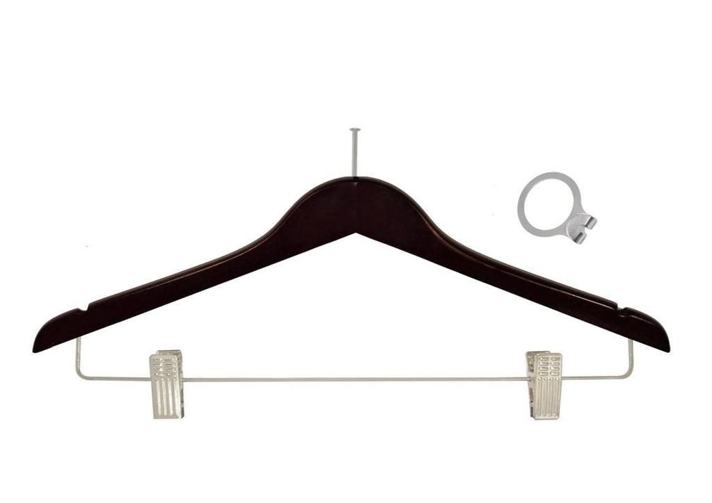 Mahogany anti-theft skirt hanger with clips and silver