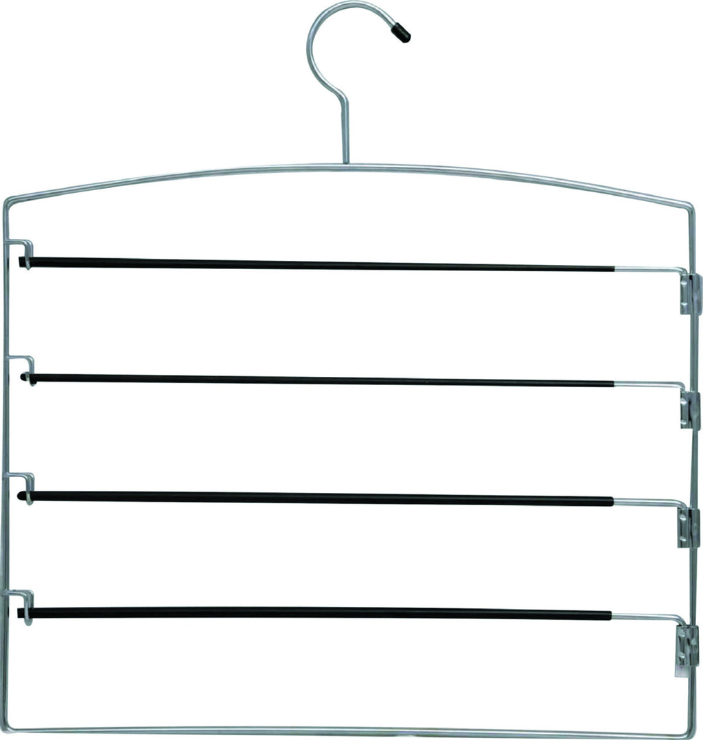 Chrome and black space saver 4 tier trouser hanger