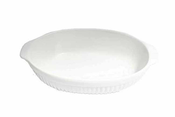 White porcelain 16.5 inch casserole dish (oven proof, microwave & dishwasher safe)