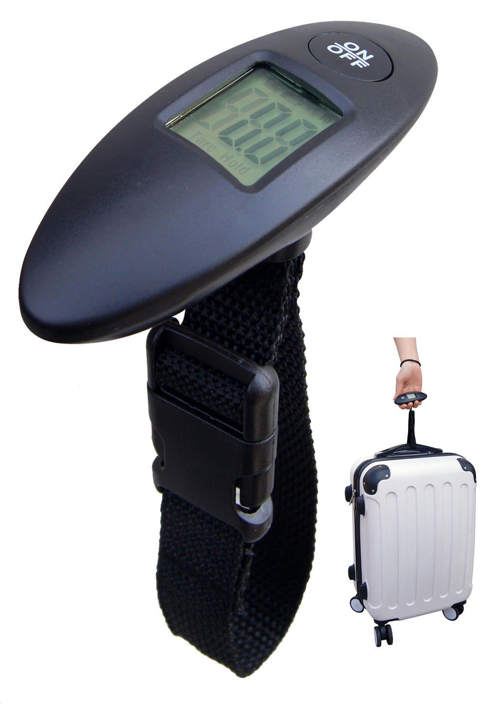 Black digital luggage scale with memory function, Travel - Presence