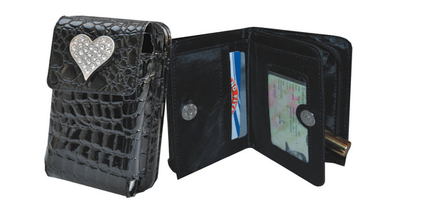 Black PU mock croc cellphone bag/wallet with 2 division purse and heart shaped gem stones