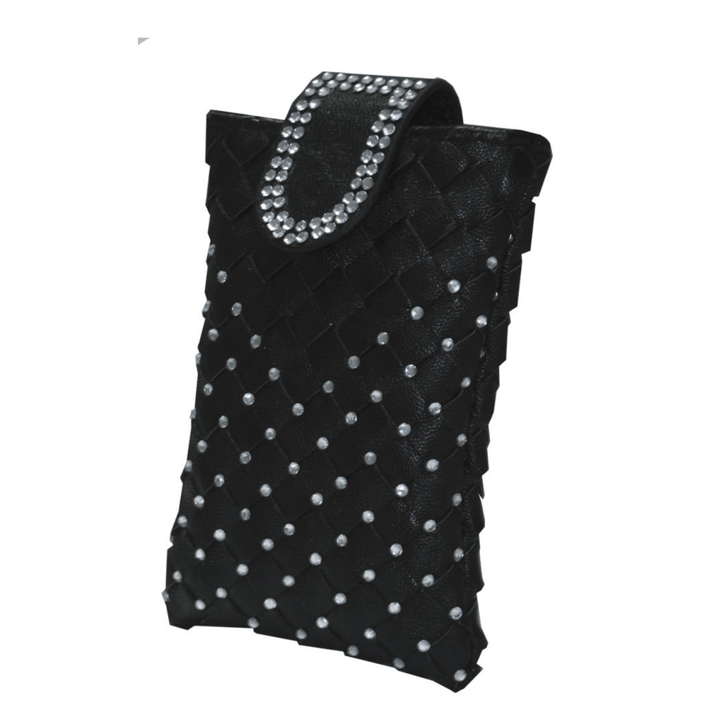 Black weave cellphone holder with Egyptian crystal detail and shoulder strap