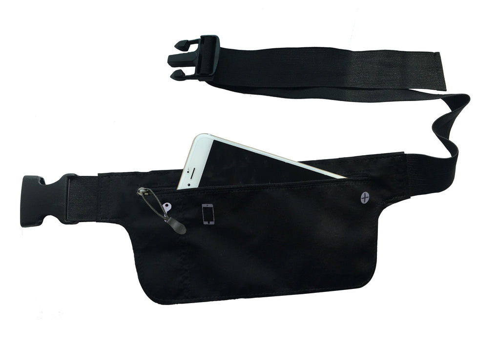 Black lycra waist wallet/running belt and pouch (fits iPhone6 Plus: 7.8x15.6cm)
