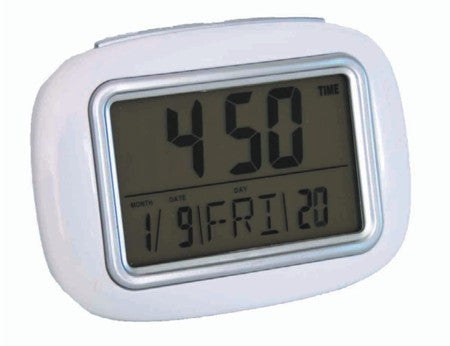 White digital LCD alarm clock with calendar, thermometer and luminous light