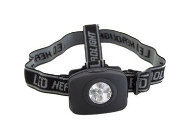 Black 5 bulb LED headlamp with adjustable straps (batteries not included), Torches And Lanterns - Presence