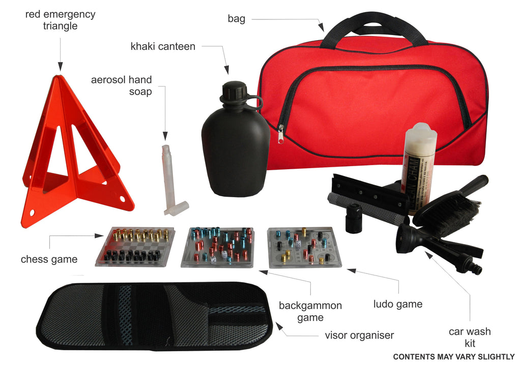 Car accessories gift set in red bag