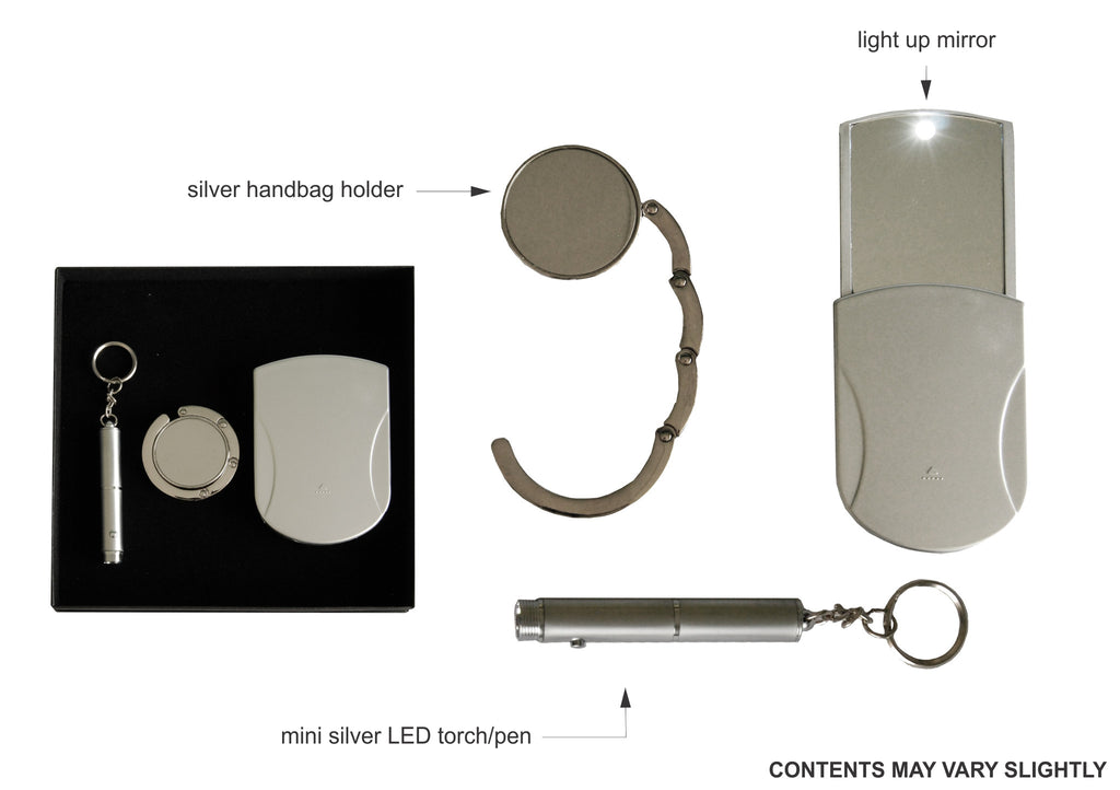 LED mirror, handbag holder and mini torch/pen keyring gift set