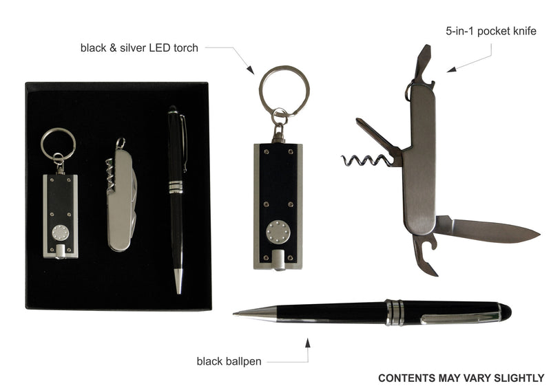 Black and silver LED torch keyring , pocket knife and black ballpoint pen in gift box, Gift Sets - Presence