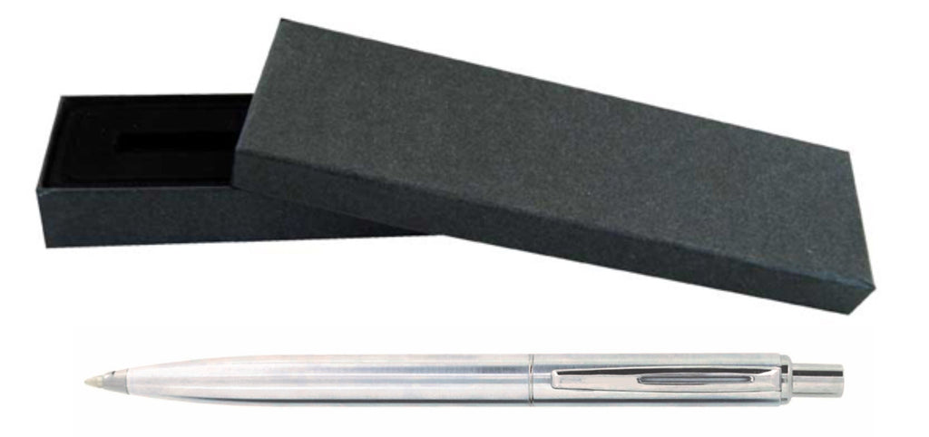 Silver metal ballpoint pen 'status' in presentation box