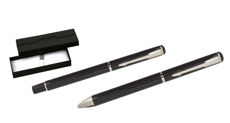 Black and silver ballpoint and rollerball pen set 'opal' in presentation box, Pens - Presence