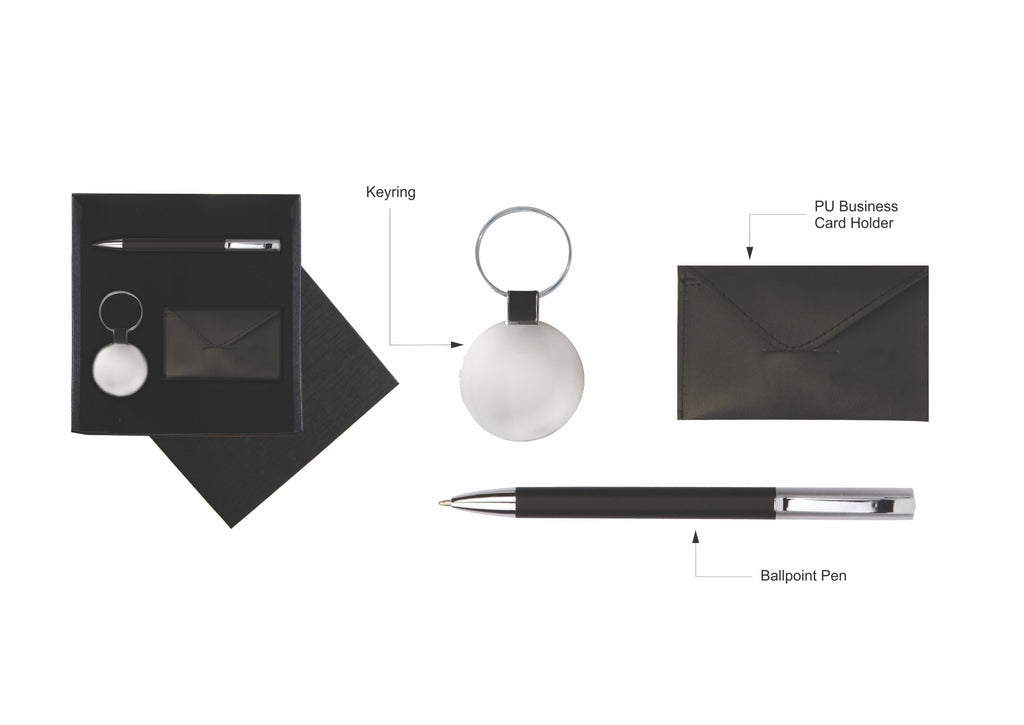 Black pen, cardholder and keyring in gift box, Gift Sets - Presence