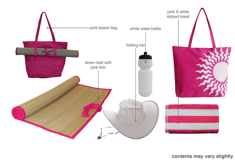 Pink beach bag gift set