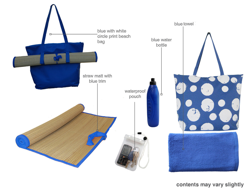 Blue with white circle beach bag gift set