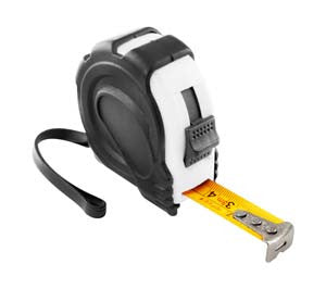 Black and white tape measure with belt clip (5m), Men's General - Presence