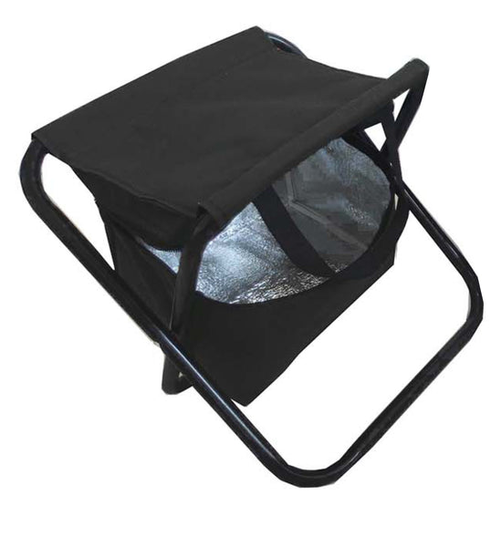 Black 2-in-1 folding stool with insulated cooler and carry handle, Picnic And Beach - Presence