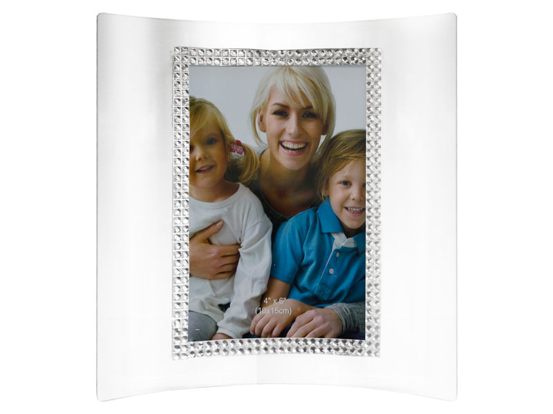 Glass and diamante 'curved' photoframe (Portrait)