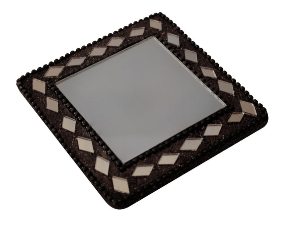 Square mirror with black bling beads