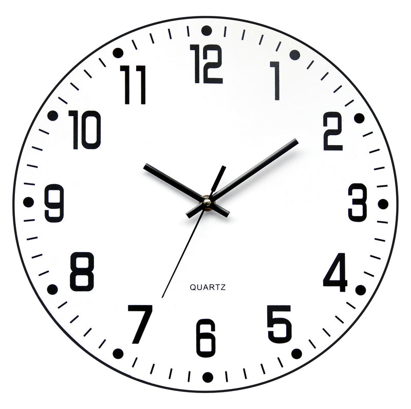 Black and white 'open face' (no glass) wall clock (battery included), clocks - Presence