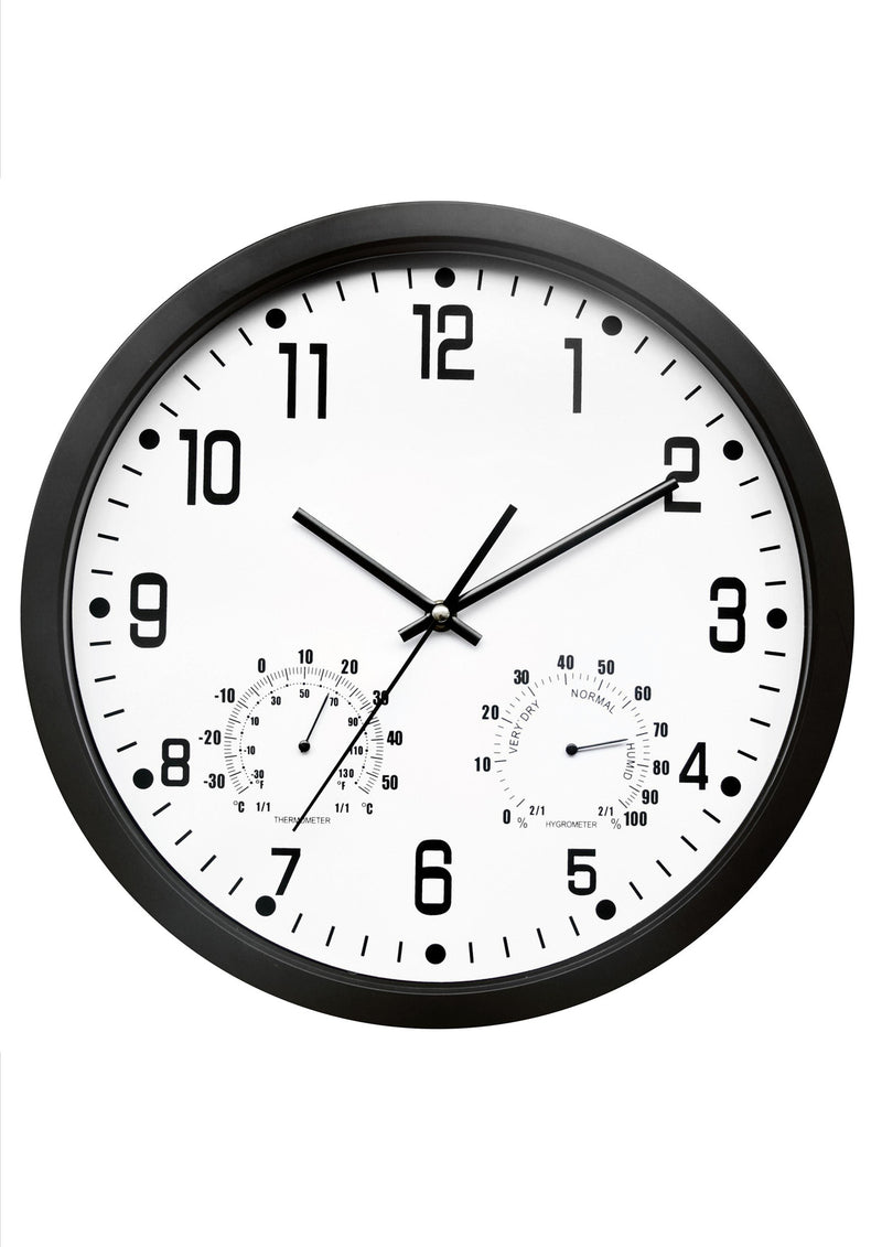 Black weather station wall clock (35cm)