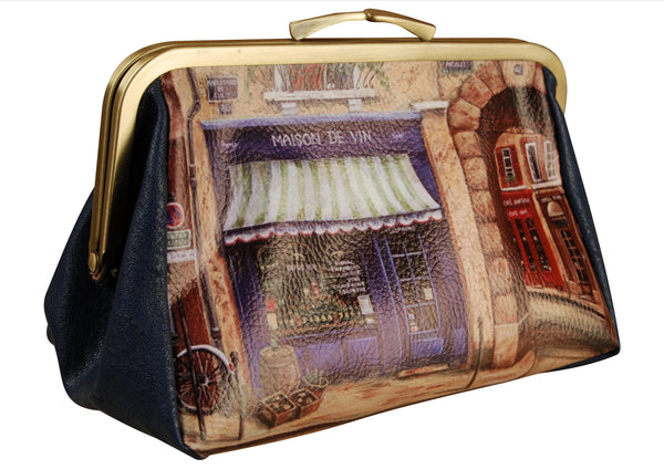 Ladies cosmetic purse with gold trim