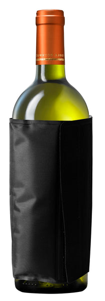 Black wine bottle cooler with refrigerant gel and easy adjustable velcro sleeve