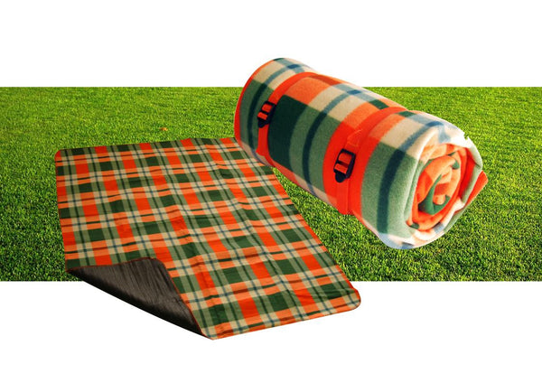 Green and orange tartan PE coated waterproof picnic blanket with strap (160g) (150x130cm)