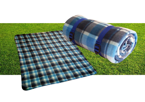 Blue tartan picnic blanket with strap (160g) (150x130cm)