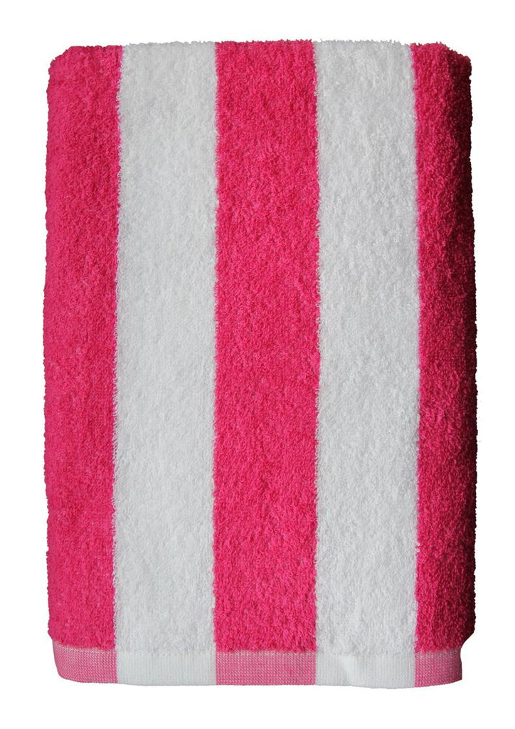 Pink and white stripe beach/pool towel-100% cotton (300g) (138x70cm)