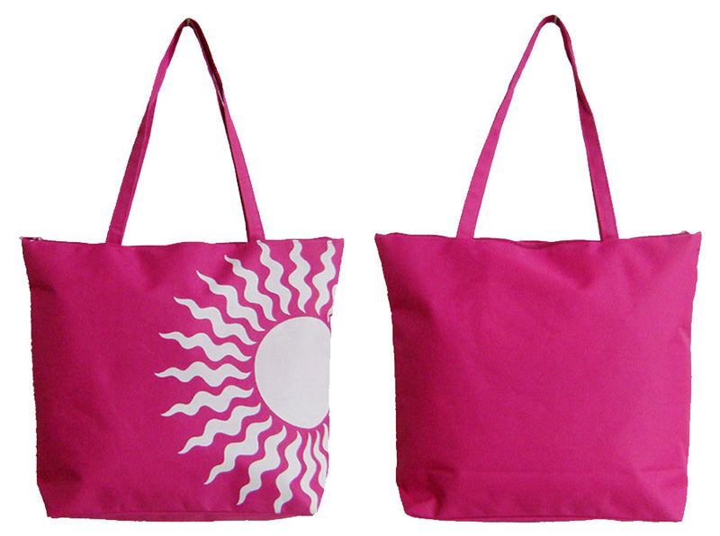 Pink shopping/beach bag with white sun print