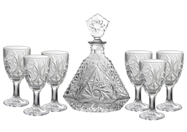 7pc clear glass decanter set with 6 wine glasses, Bar Accessories - Presence