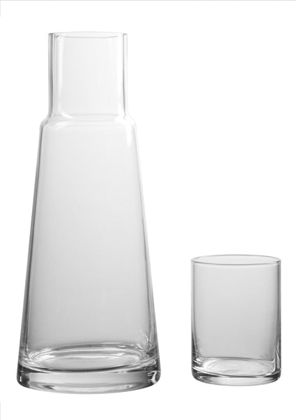 Clear glass carafe with glass tumbler/lid