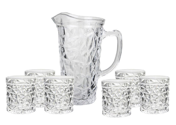 7pc 'ice pattern' jug set with 6 matching glasses, Bar Accessories - Presence