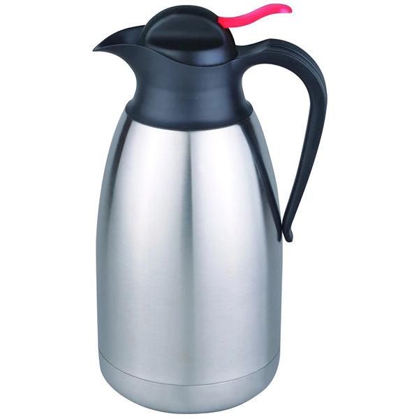 Matt stainless steel vacuum jug with black lid (1.6L)