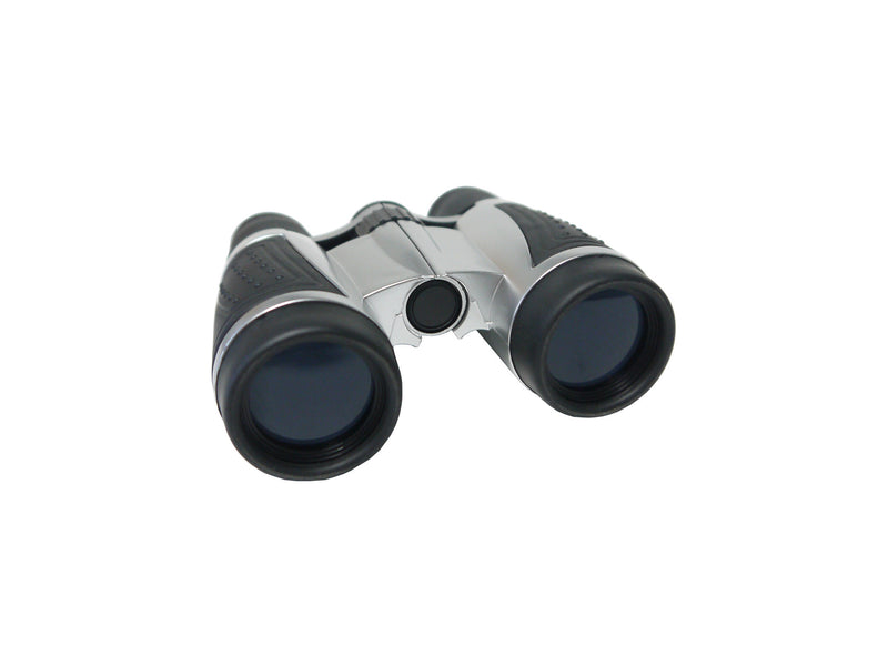 4x30 blue lens silver and black binoculars with strap in black nylon pouch