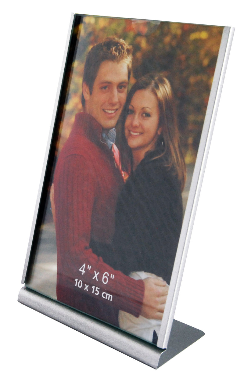 Silver metal L-shape photo frame