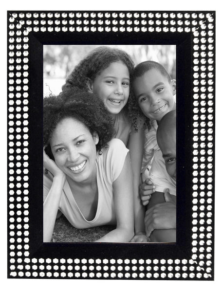 Black and silver diamante` photo frame