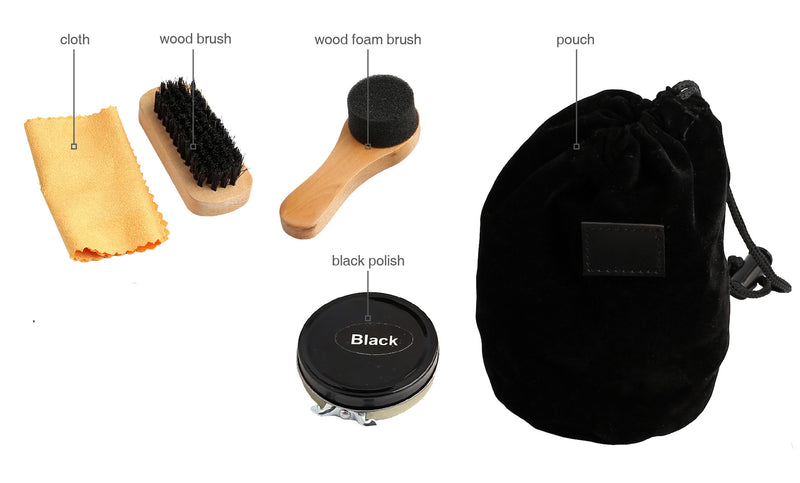 4pc shoe care kit in black pouch includes: black polish, cloth, wood brush and wood foam brush, Men's General - Presence