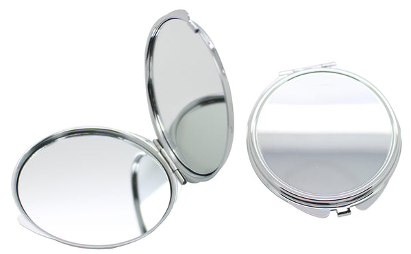 Silver round double sided compact mirror (6cm)