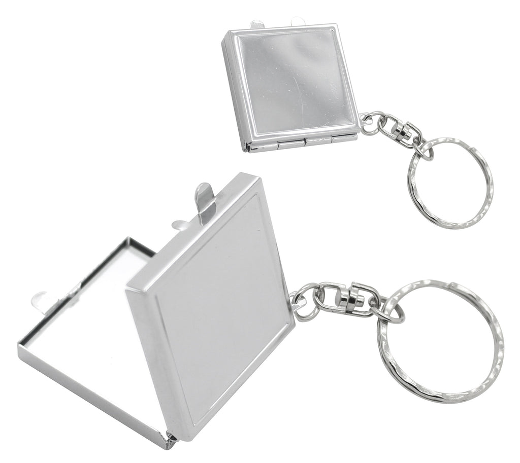 Silver square double sided mirror keyring in white box (3cm)
