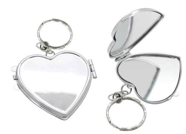 Silver heart shaped double sided mirror keyring in gift box (4.5cm)