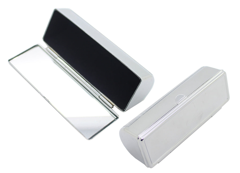 Silver metal single lipstick case with mirror