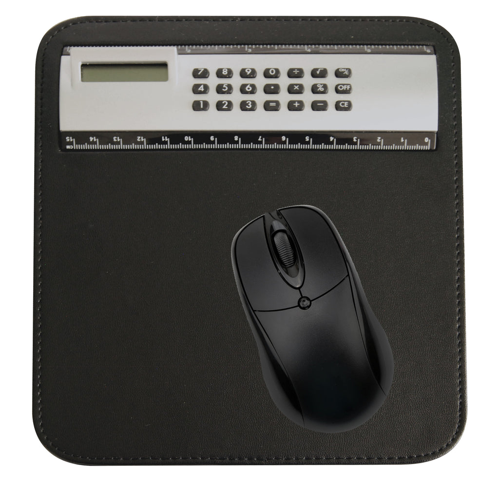 Black and silver mouse pad, ruler and calculator (mouse not included)