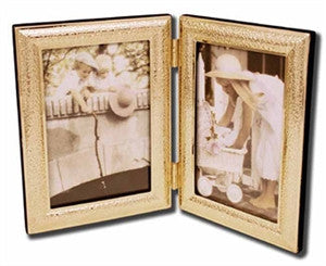 Gold double photo frame